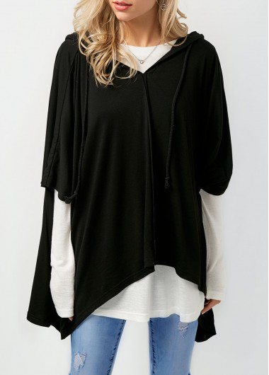 Long Sleeve T Shirt and Asymmetric Hem Black Hoodie
