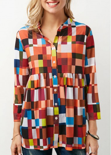 Button Up Printed Three Quarter Sleeve Blouse