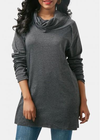 Grey Cowl Neck Long Sleeve Sweatshirt