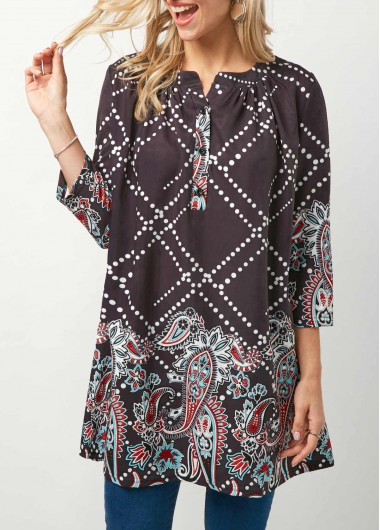 Button Neck Three Quarter Sleeve Printed Grey Blouse