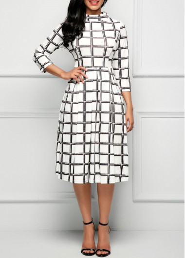 Printed Three Quarter Sleeve High Waist Dress