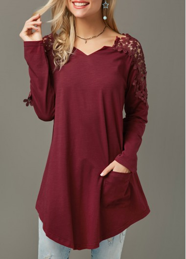 Pocket Lace Panel Long Sleeve Wine Red T Shirt