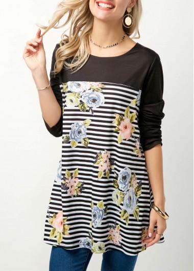Round Neck Flower Print Long Sleeve T Shirt