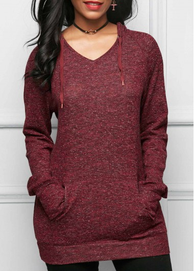 Long Sleeve Kangaroo Pocket Burgundy Hoodie