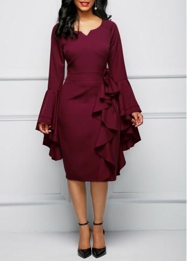 Bowknot Embellished Flare Sleeve Burgundy Dress