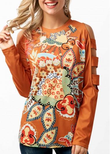 Orange Ladder Cutout Sleeve Printed T shirt