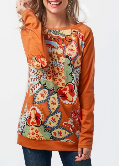 Printed Long Sleeve Round Neck Sweatshirt