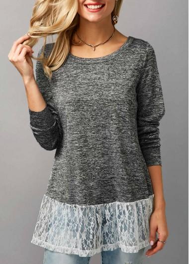 Round Neck Long Sleeve Lace Panel Blouse