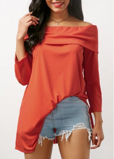 Three Quarter Sleeve Fold Over Bardot Blouse