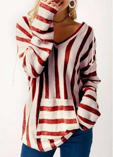 Hooded Collar Pocket Long Sleeve Striped Sweater