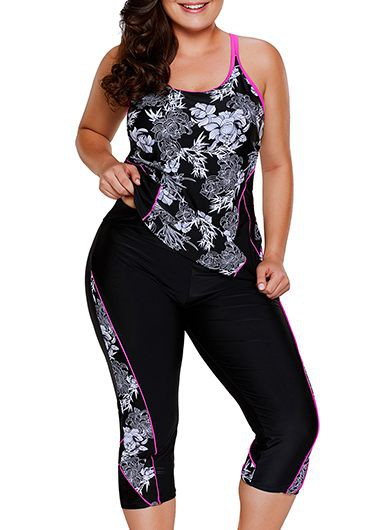Plus Size Printed Cutout Top and Swimwear Cropped Pants