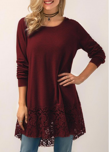 Hooded Collar Lace Panel Wine Red Blouse