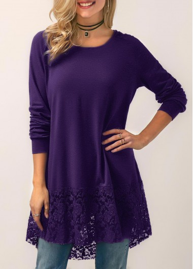 Hooded Collar Lace Panel Purple Blouse