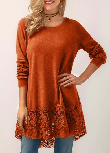 Hooded Collar Lace Panel Orange Blouse