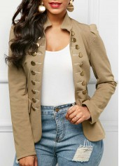Long Sleeve Button Up Khaki Blazer