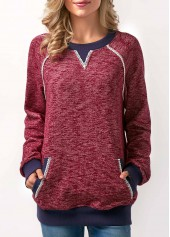 Patchwork Pocket Long Sleeve Wine Red Sweatshirt