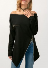 Zipper Embellished Asymmetric Hem Black Bardot Blouse
