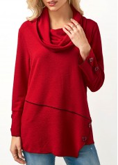 Button Embellished Cowl Neck Red Blouse