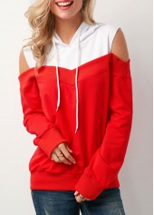 Red Long Sleeve Patchwork Cold Shoulder Hoodie