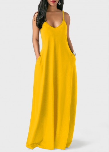 Open Back Spaghetti Strap Ginger Maxi Dress