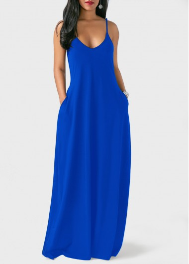 Pocket Decorated Royal Blue Maxi Dress