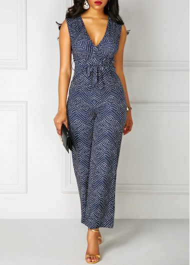 High Waist V Neck Printed Sleeveless Jumpsuit
