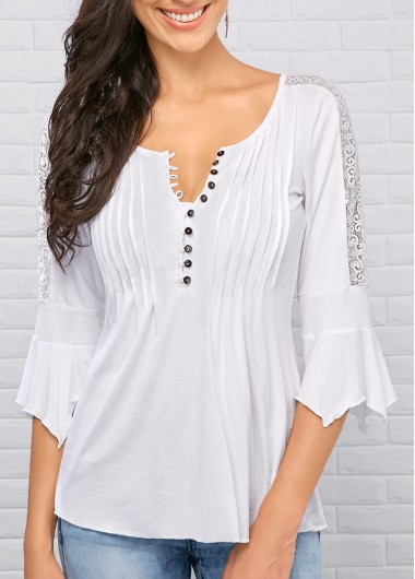 Three Quarter Sleeve Split Neck White Blouse