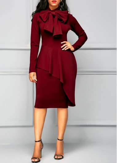 Peplum Waist Tie Neck Long Sleeve Dress