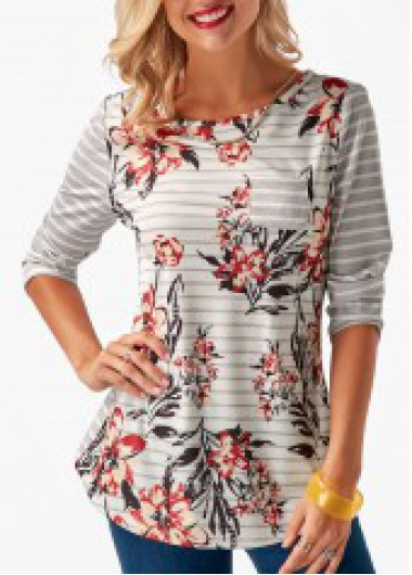 Printed Button Back Round Neck T Shirt