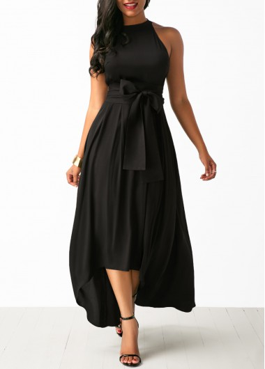 Belted Asymmetric Hem Black Maxi Dress and Cardigan