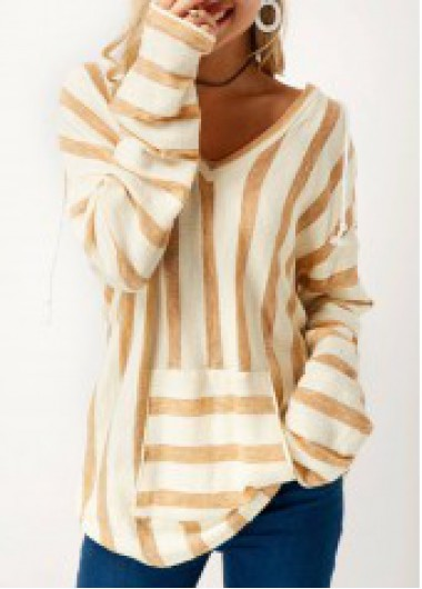 Long Sleeve Striped V Neck Pocket T Shirt