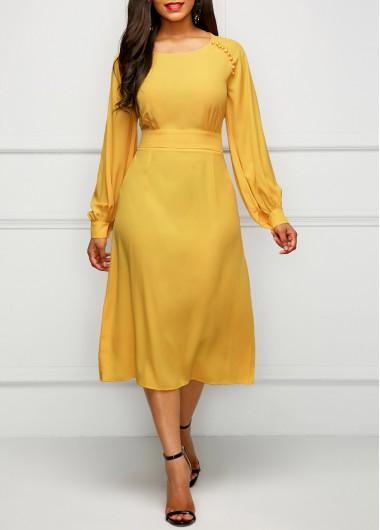 Yellow Band Waist Long Sleeve Dress