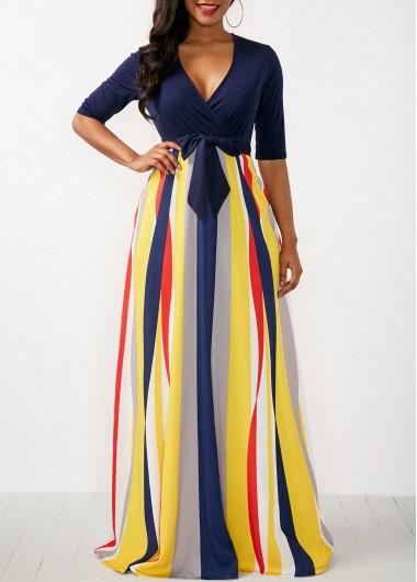 V Neck Half Sleeve Striped Maxi Dress
