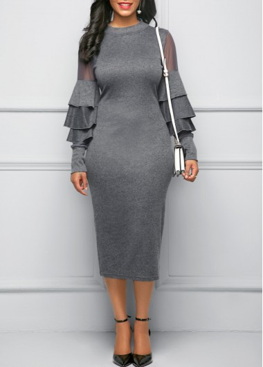 Mesh Panel Layered Bell Sleeve Mock Neck Sheath Dress