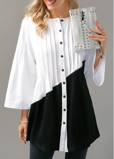 Color Block Button Up Pintuck Blouse