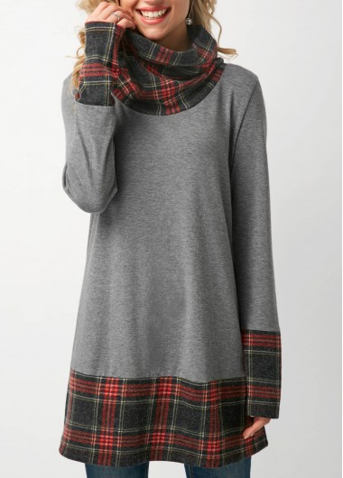 Plaid Print Long Sleeve Cowl Neck T Shirt