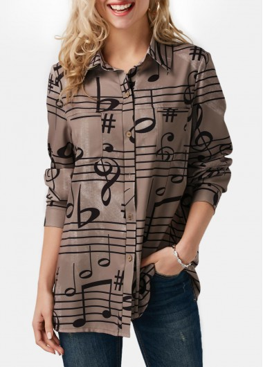 Button Up Printed Turndown Collar Long Sleeve Shirt