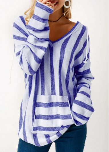 Pocket Long Sleeve Striped Hooded Collar T Shirt