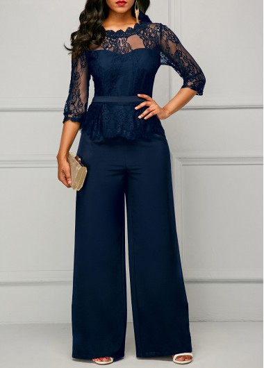 Lace Panel Navy Blue Scalloped Neckline Jumpsuit