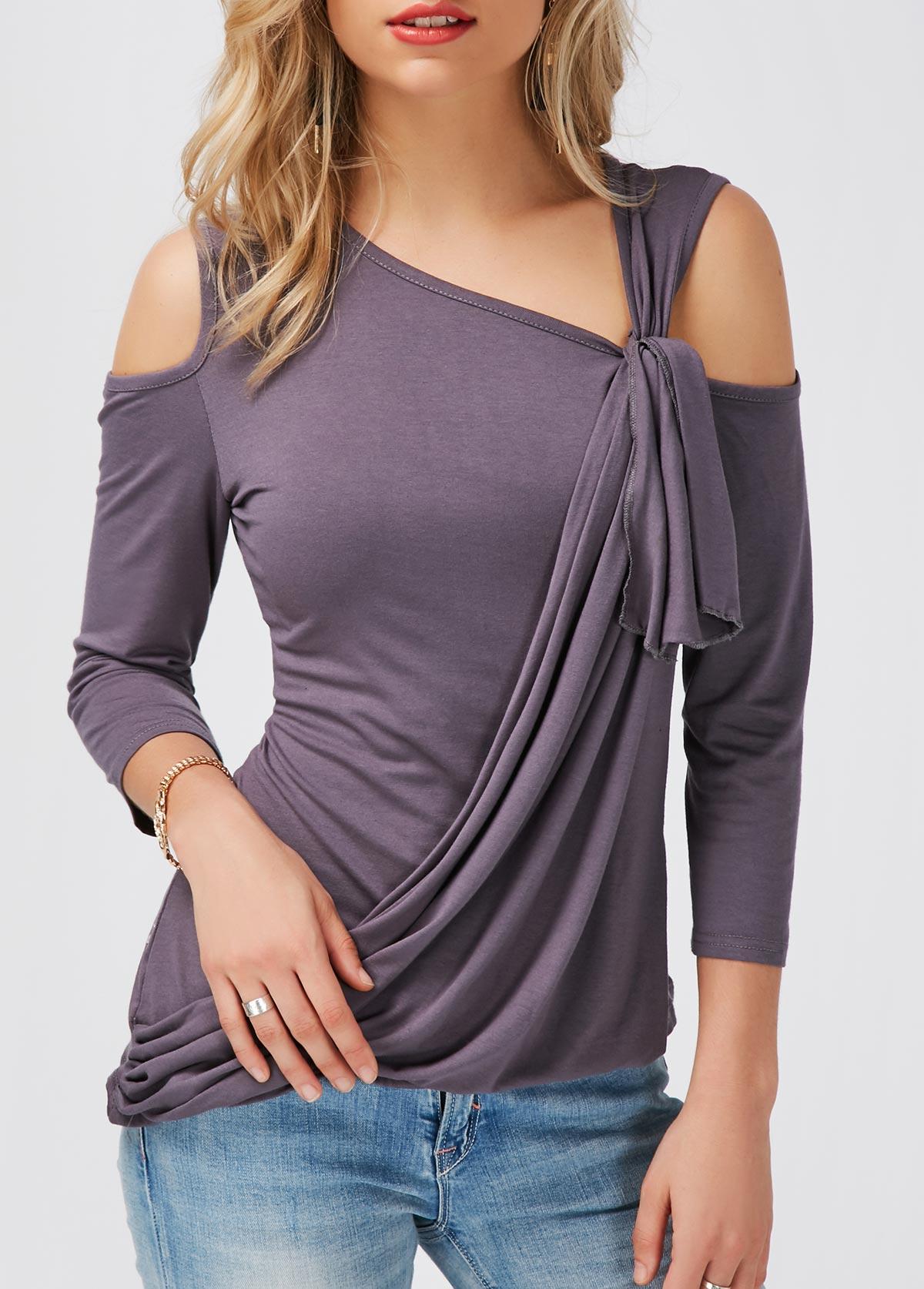 Dark Grey Cold Shoulder Asymmetric Hem T Shirt