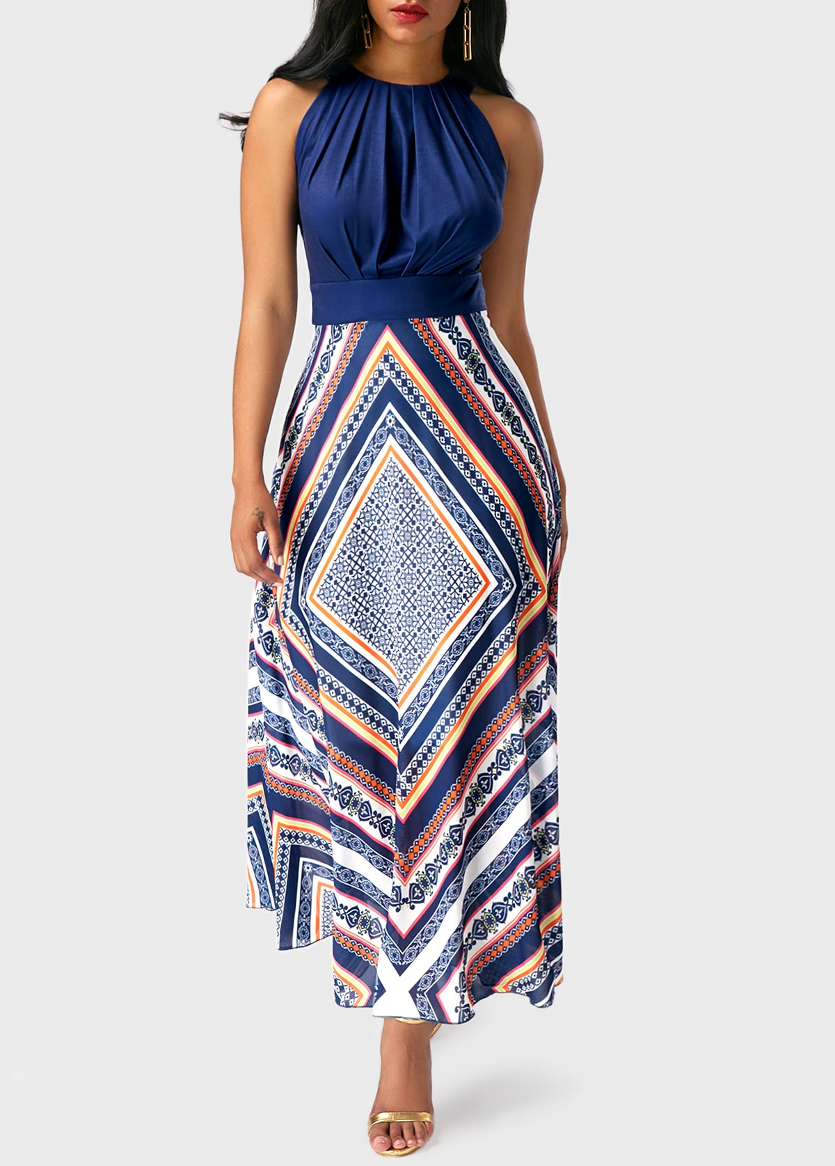 High Waist Sleeveless Printed Maxi Dress