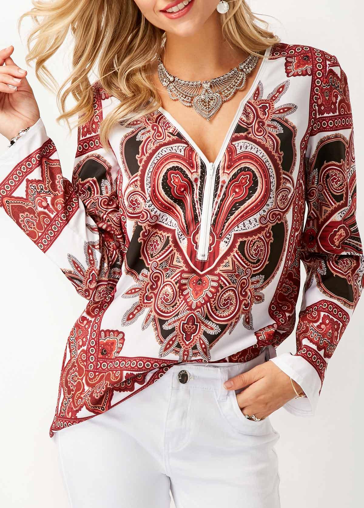 ROTITA Printed Long Sleeve V Neck Blouse