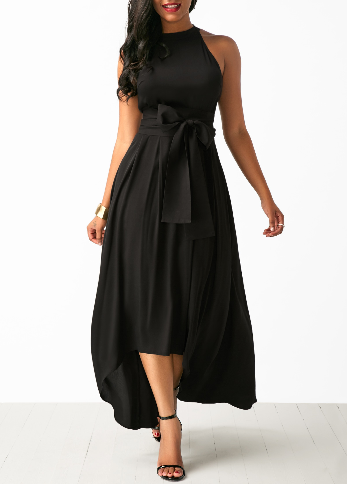 Belted Asymmetric Hem Black Maxi Dress and Cardigan