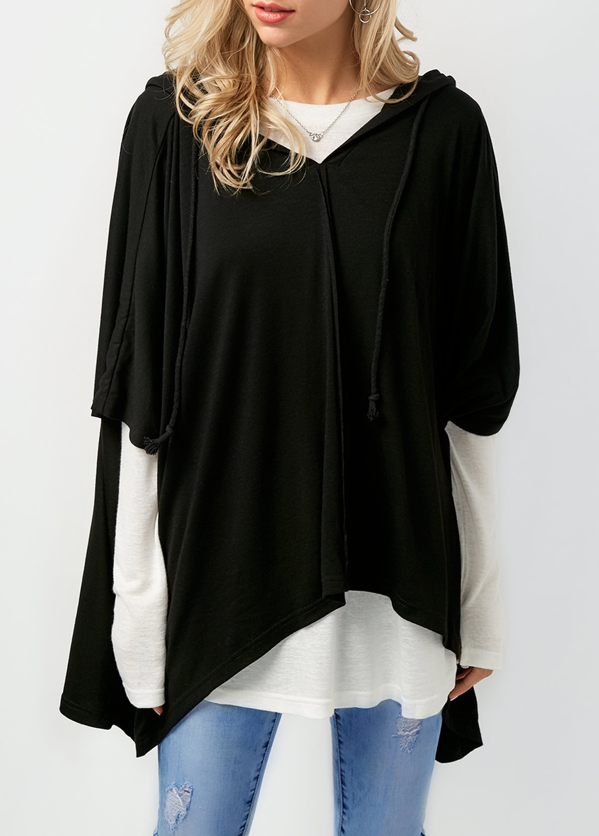 Long Sleeve T Shirt and Asymmetric Hem Black Hoodie