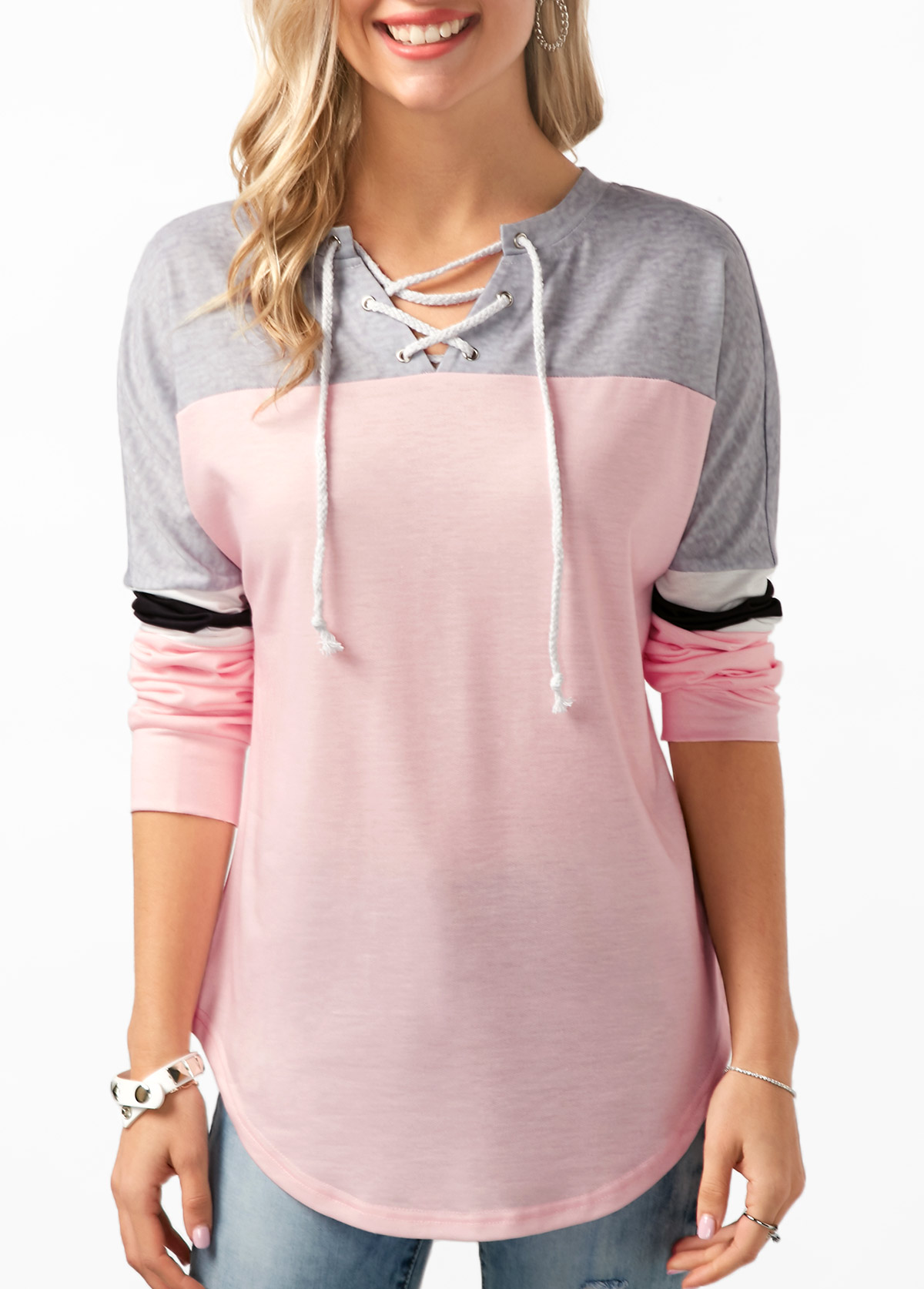 Lace Up Curved Hem Color Block Tunic T Shirt