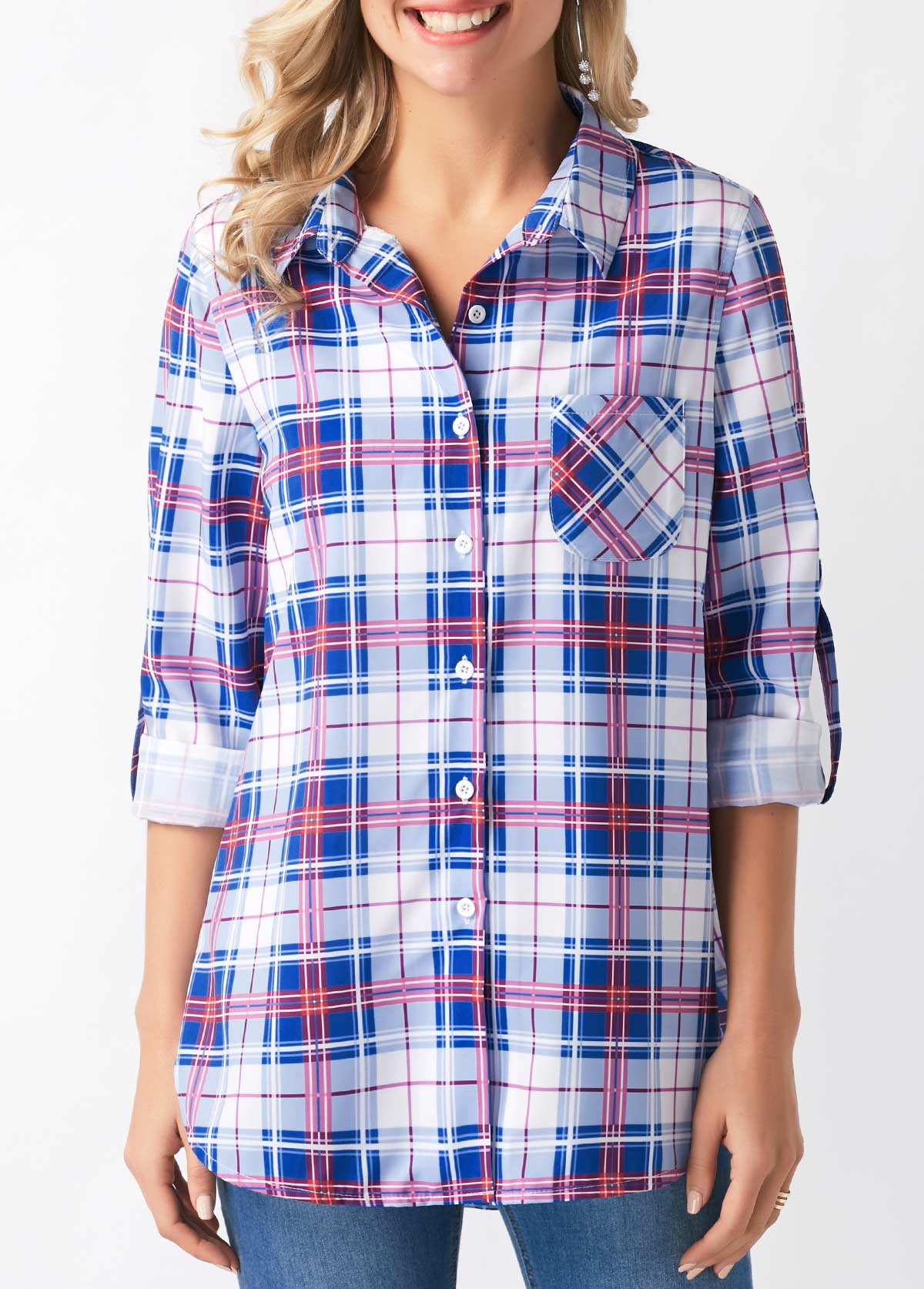 ROTITA Turndown Collar Roll Tab Sleeve Plaid Print Shirt