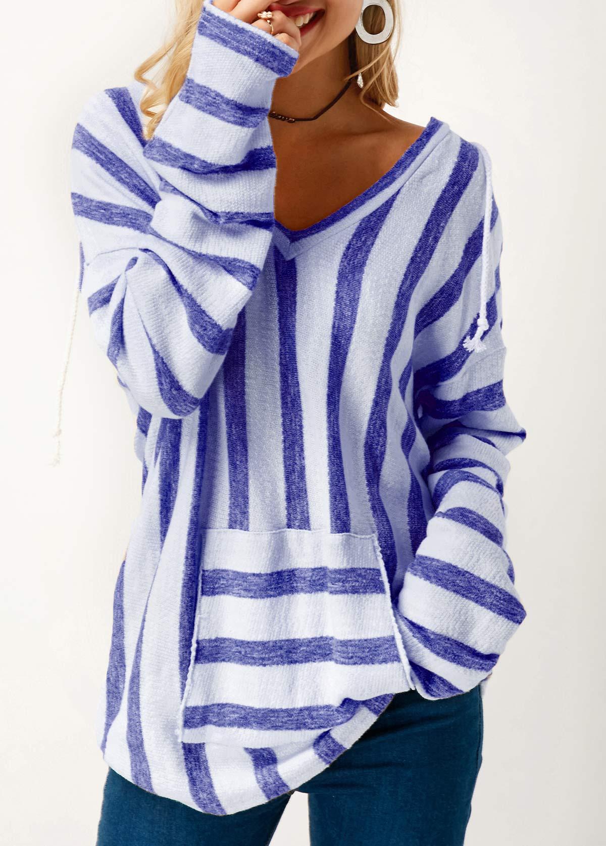 Pocket Long Sleeve Striped Hooded Collar T Shirt