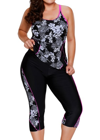 Printed Racerback Top and Swimwear Cropped Pants