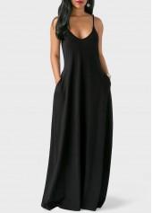 wholesale Spaghetti Strap Pocket Design Maxi Dress