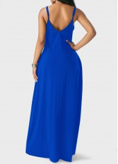 wholesale Pocket Decorated Royal Blue Maxi Dress